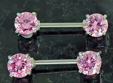 """Pair 14g 1/2"""" Prong Set 7mm Rounded Pink CZ Nipple Rings Barbells"""