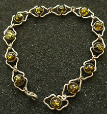 sterling silver BALTIC  GREEN  AMBER  BRACELET WOMEN RARE #5 su