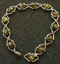 sterling silver BALTIC  GREEN  AMBER  BRACELET WOMEN RARE #5 su