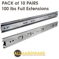 "Pack of 10 pairs 10"" - 24"" Ball Bearing Full Extension Drawer Slides"
