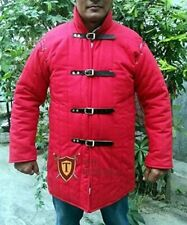 Roman Design Medieval Thick Padded Gambeson Coat Aketon Jacket Armor, Red Color