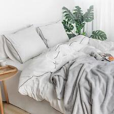 100% Washed Cotton Duvet Cover Set, 4 Pcs Comforter Cover with Zipper Closure