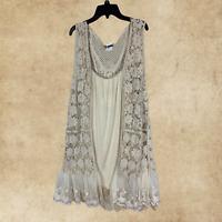 Plus Size Boho Vintage Hippie Beige Lace Embroidered Crochet Long Vest Cardigan