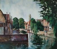 Original Old Flemish Painting on Canvas Signed, City Landscape with river