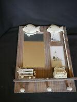 Maritimer Spiegel mit 3 Garderobenhaken,Holz, braun/weiss, B30,5 x H 40 cm,NEU !