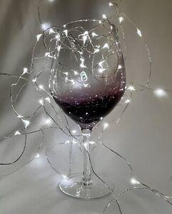 "ONE PIER 1 (One) CRACKLE PURPLE AMETHYST WINE GLASS  8 1/2"" Balloon"