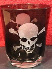Black Crystal Highball Glass Skull Crossbones [Disney Pirates of the Caribbean]