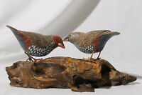 Hand Carved & Painted Finch Shore Bird Driftwood Sculpture Figurine
