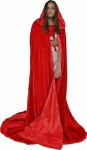 Red Velvet Lined Satin Cloak Cape Wedding Wicca Medieval Cosplay Red Riding Hood