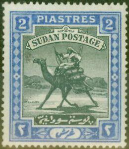 Sudan 1898 2p Black & Blue SG15Var Retouch Left of Camels Head Good Mtd Mint