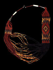 Brown and Black Beaded Rug Pattern Necklace with Earrings - Navajo Handmade