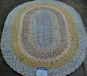 100% Cotton Oval reversible natural 60x90cm Braided, Blue American style rug.