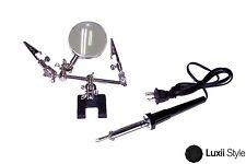 30w Soldering Iron & Helping Hand Magnifier Set Craft Model Jewelry Watch Repair