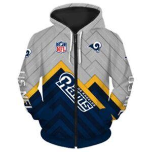 Los Angeles Rams Hoodie Fan's Hooded Zipper Sweatshirt Casual Jacket Coat