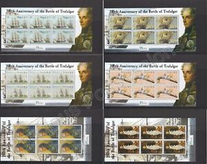 NAURU MNH STAMP SHEETS 2005 BATTLE OF TRAFALGAR FULL SHEETS SG 583-588