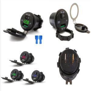 3 IN 1 12/24V Car Marine Green LED Voltmeter+USB 3.0 Quick Charger Socket+Switch