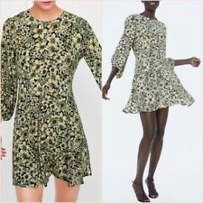SALE Green Flower Floral Flare Long Sleeves Mini Tea Dress Size S UK 8 US 4 ❤