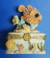 Vintage Porcelain Ocean Theme Trinket Jewelry Box