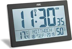 ADE Funk Wecker Digital Funkuhr XL Tischuhr Temperatur Hygrometer Beleuchtet