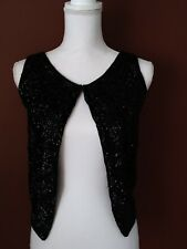 Women's Made in the Brithish Crown Colony Of Hong Kong black sequins vest sz S