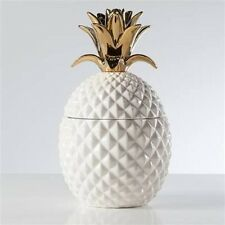 Torre & Tagus  Pineapple Gold Crown White Ceramic Canister, Tall