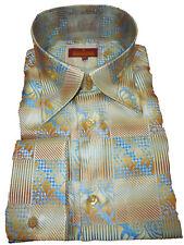 Mens Sangi Rome Collection 2011 Golden Beige + Blue Clubbing High Collar Shirt