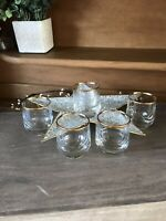 Set of 5 CIRCLE ART OF GLASS Turkey Crystal GOLD TRIM 2oz Shot/Cordial Glasses