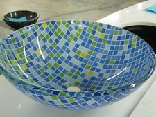New listing Glass Vessel Sink - Blue/Green/White squares