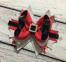 "5"" Handmade Red ,Black ,Silver Christmas Holiday Santa Boutique Hair Bow"