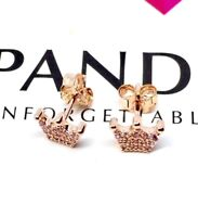 New Pandora Pink Enchanted Crown Stud Earrings