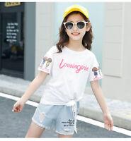 IENENS Summer Kids Girls Outfits Sets Tops + Pants Shorts Child Cotton T-shirt