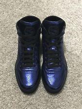 $595 Gucci Metallic Blue High Top GG Ace Sneakers UK 8.5 US 9.5
