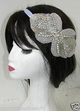 Silver Rhinestone Beaded Headband White Ribbon Vintage Bridal 1920 Headpiece R87