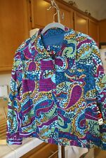 Redd Jeans Womens Zip Up Jacket Multi Color Sequins Rhinestone Mint NWT Size 12