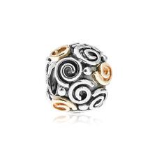 Genuine PANDORA Swirl, Silver & 14k Gold Charm 790414 - RRP £85