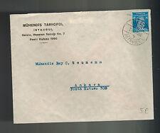 1936 Istanbul Galata Turkey Cover to Ankara Muhendis Tarnopol