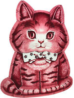 RARE Vintage Uncut Charlie The Kitten 60s/70s Pink Cat Craft Fabric Panel Pillow