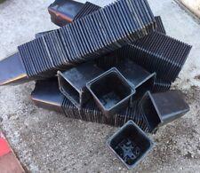 "100 USED  9CM SQUARE BLACK PLASTIC PLANT POTS 10CM DEEP 3.5"""