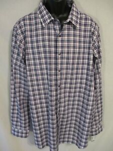 Apt. 9 100% Cotton Black/Purple Plaid Long Slv Point REg Fit Shirt SR$46-56 NEW