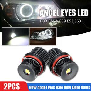 2pcs 80W Angel Eyes Error Free LED Halo Ring Light Bulbs For BMW E63 E53 E39