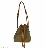 Vintage Dooney & Bourke AWL Taupe Tan Brown Beige Tassle Bucket Drawstring Bag