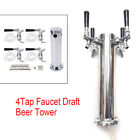 4 Tap Faucet Draft Beer Tower Stainless Steel Silver For Kegerator Home Brew US
