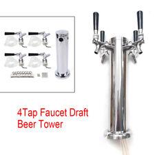 Draft Beer Towers 4tap Quadruple Faucet Stainless Steel Homebrew Beer Dispenser