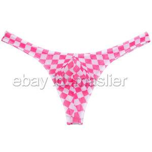 Plaid Pattern See-through Design Bikini Mens Pouch Underpants Fashion Shorts