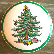 Vintage Spode Christmas Tree Round Covered Candy Dish Trinket Box England 5inch