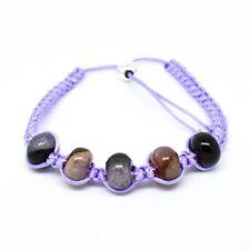Sterling Silver 925 Adjustable Slider Multi Agate Purple Macrame Beaded Bracelet