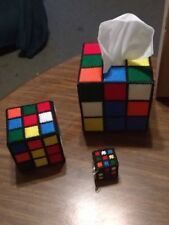 Rubik's Cube Tissue Box Cover Set  plus Get a FREE GIFT