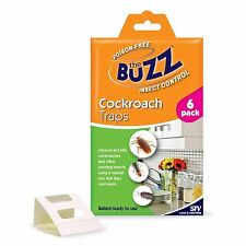 2x The Buzz COCKCROACH INSECT TRAPS, Baited Ready-to-Use Value Packs, 6Pc