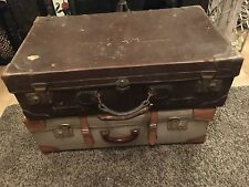 VIntage Suitcase / Antique luggage Old Leather Suitcase  With Rare Tray