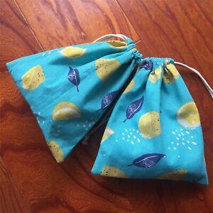 Cotton Linen Drawstring Sorted Pouch Party Gift Bag Print Lemon Blue Base YIL B#